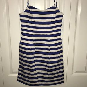 Blue, white and black striped GAP dress. Lined!